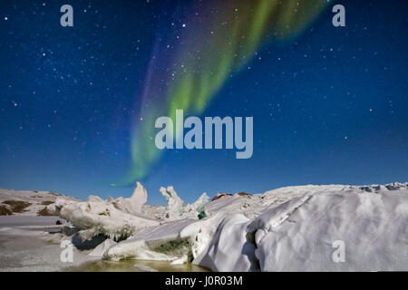 Northern Lights over Russell Glacier, Kangerlussuaq, Artic Circle, Greenland, Europe - Stock Photo