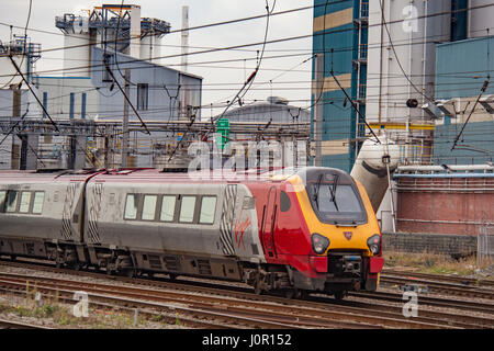 Virgin Voyager diesel train on the West Coast mainline. WCML - Stock Photo