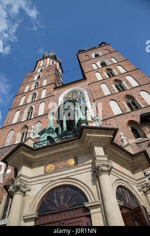 Front elevation of St Mary's Basilica in Krakow Square - Stock Photo