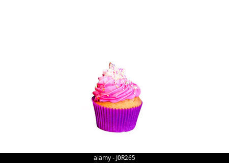Violet cupcake with pink cream and star on top cut out. - Stock Photo