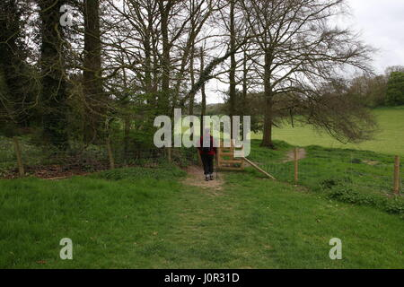 A lone walker approaches a gate across a track along the South Downs Way in the Hampshire countryside - Stock Photo