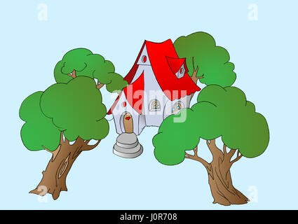 Trees Near a Small Fairy Tale House. Digital Painting Background, Illustration in primitive cartoon style character. - Stock Photo