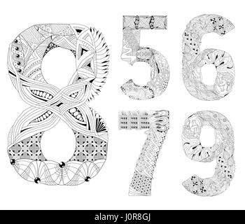 set of number five, six, seven, eight, nine Zentangle. Vector decorative objects - Stock Photo