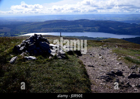 Loch Venachar from the Footpath on the S/E Ridge of the Scottish Mountain Corbett Ben Ledi in the Trossachs Natianal - Stock Photo