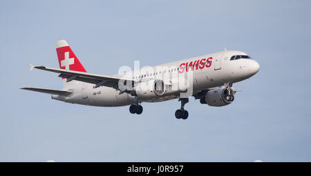 Swiss International Air Lines Airbus a320 HB-IJD coming into land at London Heathrow Airport LHR - Stock Photo