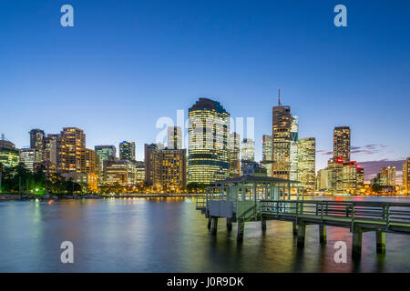 Night view of skyline of central business district of Brisbane in Queensland Australia - Stock Photo