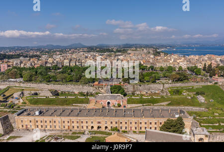Corfu town view from the old fortress during easter. - Stock Photo