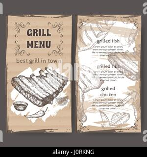 Vintage grill restaurant menu template with hand drawn sketch - Stock Photo
