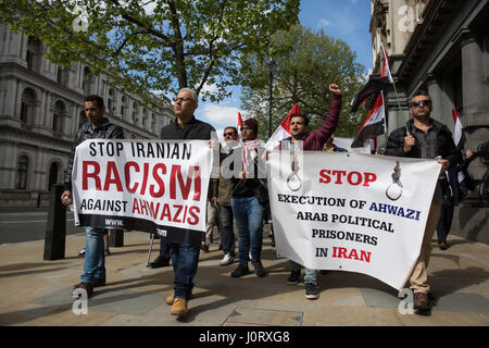 London, UK. 15th April, 2017. Ahwazi Arab activists protest in Whitehall against human rights abuses committed against - Stock Photo