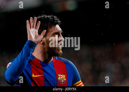Barcelona, Spain. 15th Apr, 2017. Barcelona's Lionel Messi reacts during the Spanish first division soccer match - Stock Photo
