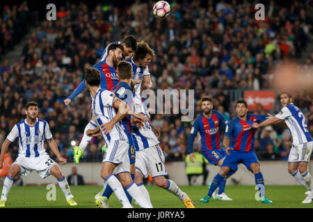 Barcelona, Spain. 15th Apr, 2017. Barcelona's Lionel Messi (top L) heads the ball during the Spanish first division - Stock Photo