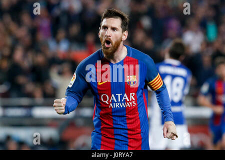 Barcelona, Spain. 15th Apr, 2017. Barcelona's Lionel Messi celebrates after scoring during the Spanish first division - Stock Photo