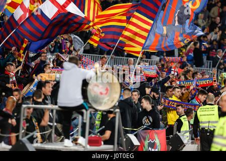 Barcelona, Spain. 15th April, 2017. FC Barcelona followers during the match between FC Barcelona vs Real Sociedad, - Stock Photo