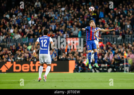 Barcelona, Spain. 15th April, 2017. Ivan Rakitic during the match between FC Barcelona vs Real Sociedad, for the - Stock Photo