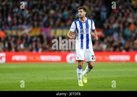 Barcelona, Spain. 15th April, 2017. Raul Navas during the match between FC Barcelona vs Real Sociedad, for the round - Stock Photo