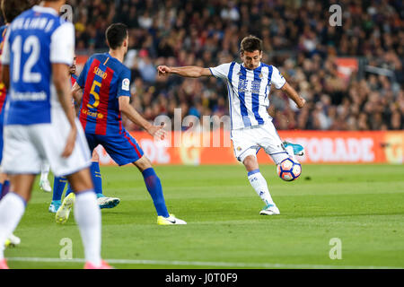 Barcelona, Spain. 15th April, 2017. Mikel Oyarzabal during the match between FC Barcelona vs Real Sociedad, for - Stock Photo