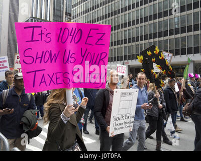 New York City, USA. 15th April, 2017. Thousands of protesters march in The Tax Day March to demand Donald Trump - Stock Photo