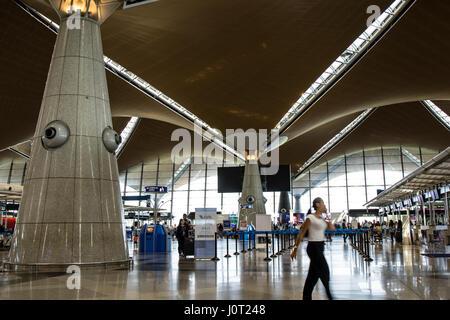 Kuala Lumpur, Malaysia. 16th April, 2017. A view inside the Kuala Lumpur International Airport (KLIA) interior. - Stock Photo