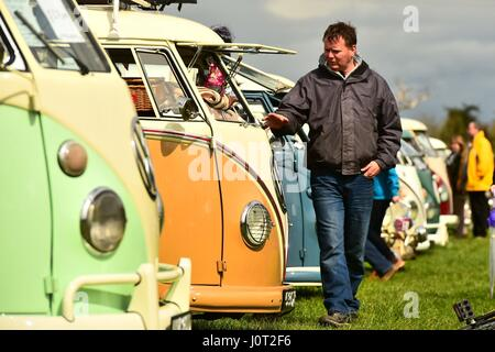 Oswestry, Shropshire, UK. 16th April, 2017. Visitors to BusTypes 2017 Volkswagen campervan festival in Oswestry - Stock Photo