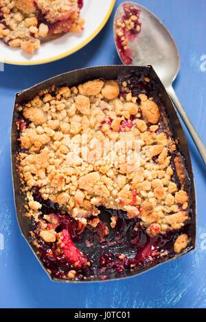 Apple blackberry crumble - Stock Photo
