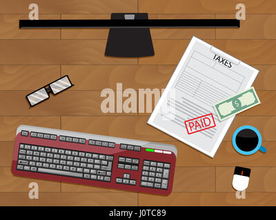 Online pay tax financial, vector calculation profit and income illustration - Stock Photo