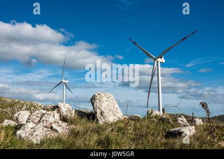 Windmills on the Sierra Carape in the Maldonado Department, Uruguay - Stock Photo