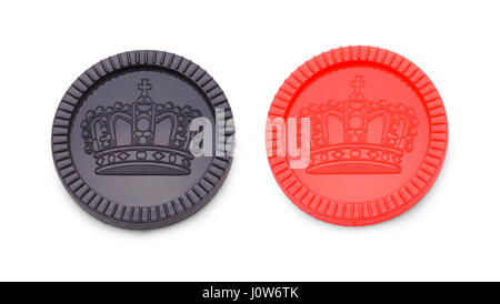 Red and Black Checkers Game Pieces Isolated on White Background. - Stock Photo