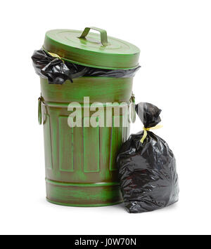 Full Green Trash Can with Garbage Bags Isolated on White Background. - Stock Photo