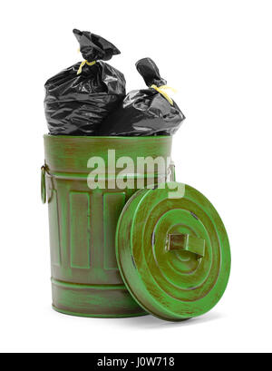 Garbage Can Filled with Black Trash Bags Isolated on White Background. - Stock Photo