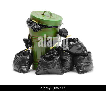 Garbage Can and Pile of Trash Bags Isolated on White Background. - Stock Photo