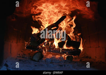 flame fire in the oven - Stock Photo