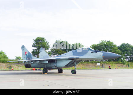 LEEUWARDEN, NETHERLANDS - JUNE 10, 2016: Slovak Air Force Mikoyan-Gurevich Mig-29AS (Mig-29SD) during the dutch - Stock Photo