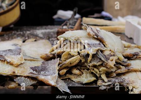 Dried fish on seafood market, Majorca, Balearic Islands, Spain, Europe - Stock Photo