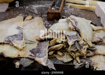 Dried fish on seafood market, Majorca, Balearic Islands, Spain, Europe - Stock Photo