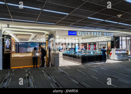 Bangkok, Thailand - March 19, 2017: Duty free shop in Don Muang International Airport. Departure Hall Terminal 1 - Stock Photo