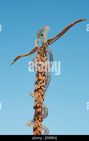 Brazen Serpent Monument, sculpture by Giovanni Fantoni, on the Mount Nebo, in the Hebrew Bible the place where Moses - Stock Photo