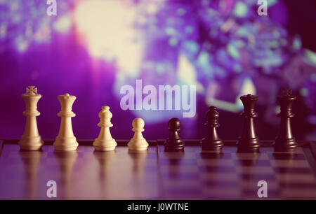 Chess background central figure. Chess strategy concept is on the bright background. Abstract background of business - Stock Photo
