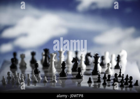 Chess strategy concept is on the bright background. Abstract background of business concept . Selective focus shallow - Stock Photo