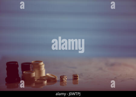 Checkers, dice on the bright background. Abstract background of business concept . Selective focus shallow depth - Stock Photo