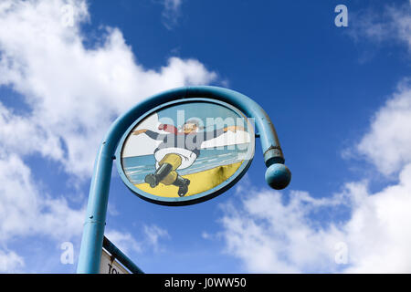 Lincolnshire seaside resort of Skegness in Lincolnshire,UK.Jolly Fisherman Logo. - Stock Photo