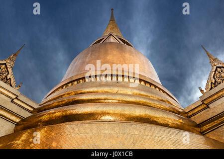 Golden Stupa of Buddhist temple, Bangkok, Thailand - Stock Photo