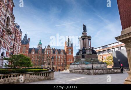 London, UK - April 5, 2017: The Royal College of Music and Royal Albert hall entrance statue at south Kensington - Stock Photo