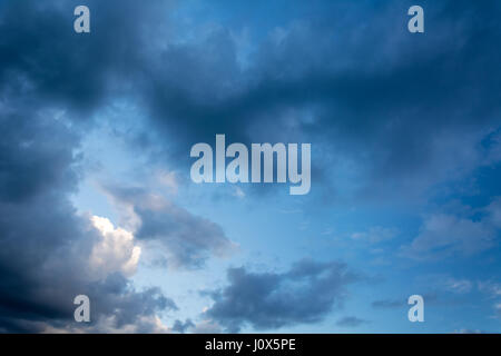 Daytime sky with clouds wide-angle contrast daytime nature background - Stock Photo