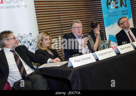 YouGov & English PEN Breakfast Panel Discussion chaired by the late Steve Hewlett, with Brian Cathcart, Paul Connew, - Stock Photo