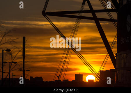 The city centre skyline at sunset from the Etihad (formerly the City of Manchester) stadium, Manchester, England, - Stock Photo