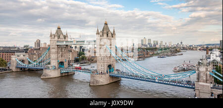 London, United Kingdom - 19 September 2015. Panoramic view of an iconic symbol of London. Tower Bridge is a combined - Stock Photo