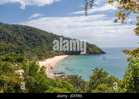 View of Bamboo Bay Beach with Rainforest behind in Koh Lanta Yai, Krabi Province, Thailand, Southeast Asia - Stock Photo