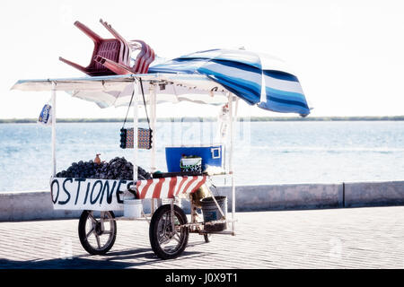 An oyster cart sits in the hot sun of the Altata boardwalk on the Pacific coast of  Mexico. - Stock Photo