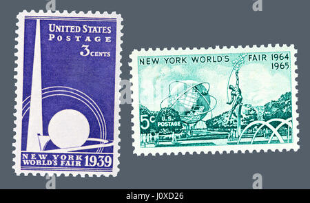 1939 and 1964 New York World's Fair postage stamps – The 1939 three-cent stamp depicts the famous Trylon and Perisphere - Stock Photo
