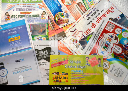 advertisement pamphlets stock photo